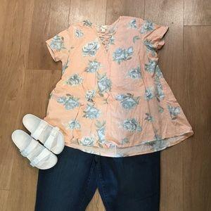 Misia Tops - Floral criss-cross V neck tunic t-shirt